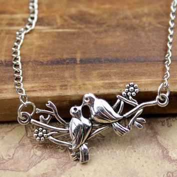 Silver necklace love bird, natural love two birds inhabiting the lasso pendant necklace