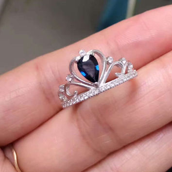 Natural blue sapphire gem Ring Natural gemstone Ring S925 sterling silver Fashion elegant Crown droplets women party Jewelry