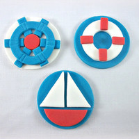 12 Nautical Theme Party Cupcake / Cookie Fondant Toppers, Sailboat Birthday Cupcake Toppers, Nautical Baby Shower Edible Decorations