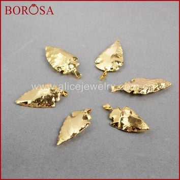BOROSA Arrow Gold Pendants Natural Natural Stone Arrowhead Necklace Pendants Quartz Druzy Pendants G506 G508