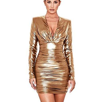 Sparkly Party Dresses for Women V Neck Long Sleeve Ruffle Pleated Glitter Bodycon Sexy Wrap Dress Gold M