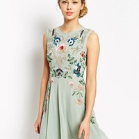 Frock and Frill Sleeveless Floral Embellished Skater Dress
