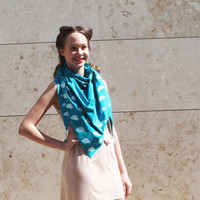 Turquoise cotton scarf with hand printed cute cumulus clouds