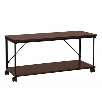 Wood and Metal Frame TV stand with Bottom Shelf and Casters, Brown and Black