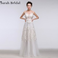 2017 New Sexy See Through Lace Beach Wedding Dresses with Sash Floor Length Real Picture Custom Made Vestido De Noiva GT06