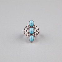 Full Tilt Turquoise Stone Ring Silver  In Sizes