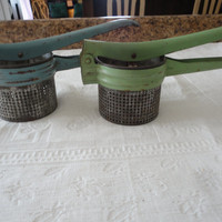 Vintage Blue Green Potato Ricer Mashers