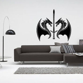 Sword decal Sticker Fantasy Dragon Slayer Vikings Knights Wall Art Decor 4103