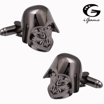 iGame Darth Vader Cuff Links 2 Colors Option Star Wars Film Design Free Shipping