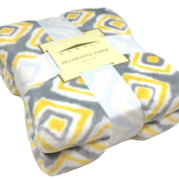 "All Seasons Micro Fleece Diamond Ikat Plush Throw Blanket Oversized 60 x 70"" Blue, Gray, Turquoise, Yellow, White (Yellow/Gray)"