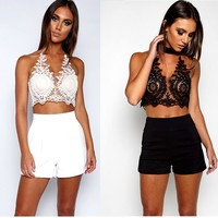 Fashion Hot Sale Women Sexy Lace Embroidery Romper Two Piece