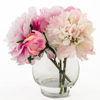 Silk Peonies Artificial Faux Arrangement with Fuchsia Light Pink Peonies and Buds in Round Glass Vase for Home Decor or Silk Centerpiece