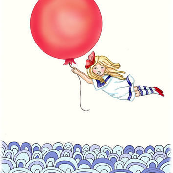 red balloon girl kids wall art sea to sea by wonderlaneart on Etsy