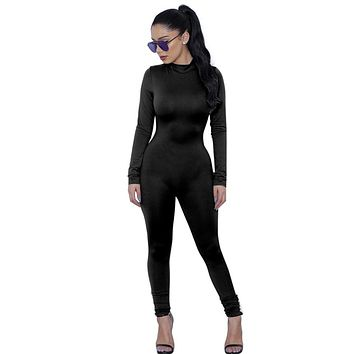 Woman Tight Bodysuit Overalls  Rompers Bodycon  long Sleeve Jumpsuit