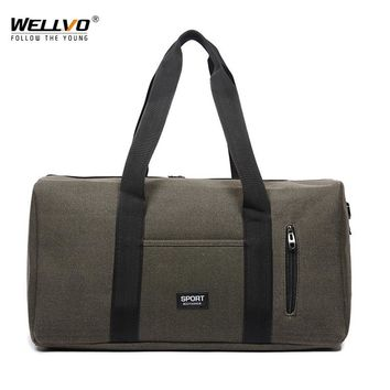 Men Large Travel Duffle Canvas Luggage Handbag Women Weekend Overnight Portable Bag Black Trip Tote Solid Shoulder Bags XA37WC