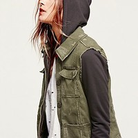 Free People Womens Knit Hooded Twill Jacket