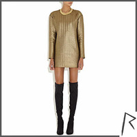Gold Rihanna embossed oversized top