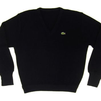 neueste Art von riesige Auswahl an Schnäppchen für Mode SALE - Vintage Izod Lacoste Sweater in Black - Pullover, V-Neck, Preppy Ivy  League Menswear, Preppy, Trad - Men's Size Medium Med M