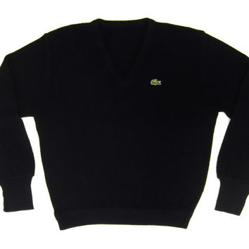 SALE - Vintage Izod Lacoste Sweater in Black - Pullover, V-Neck, Preppy Ivy League Menswear, Preppy, Trad - Men's Size Medium Med M