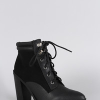 Qupid Pointy Toe Lace Up Heeled Combat Ankle Boots