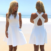 High Tide Skater Dress In White