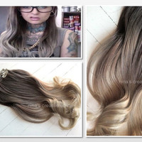 Ash Blonde Ombre Hair,  Ombre Clip In Hair Extensions, Dark Ash Blonde Hair, Light Ash Blonde Ombre, (7) Pieces, 20""