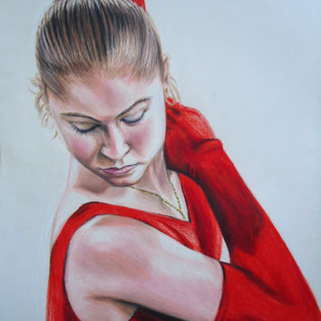 Figure Skating artwork - Original Yulia Lipnitskaya drawing - Hand made Colored pencil drawing - Sports portrait - Gifts for your daughter