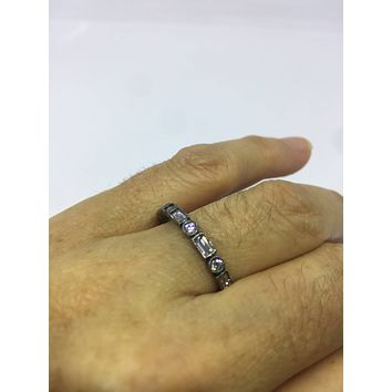 Vintage filigree Cubic Zirconia Crystal Gothic Black Rhodium Sterling Silver  Eternity Band ring