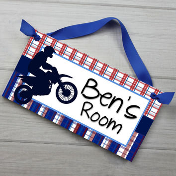 Dirt Bike Red and Blue Plaid Personalized Bedroom Door Sign Wall Art DS0433