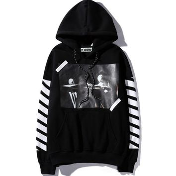 Off white oblique striped hooded plus velvet men and women sets of head sweater students autumn and winter sweater Black
