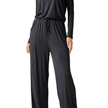 Ageena Womens Sleeveless Drawstring Cross Back Long Pants Jumpsuit Romper