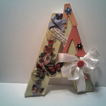 A IS FOR Beautiful Initial A Decoration Great Gift Nursery Decor College Dorn Pretty up your house with A designer Touch A with little bow