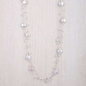 Emma Long Two Strand Necklace Pearl Gold