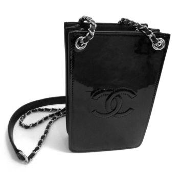 New CHANEL Black Patent Leather Cell Phone Holder / WOC Wallet On A Chain