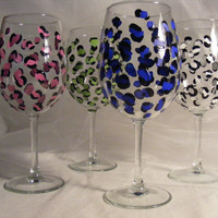 leopard wine glasses in assorted colors- large 18oz oversize wine glass.  Can be personalized