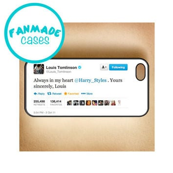 Always in my heart Tweet iPhone 4/4s/5/5s/5c/6/6 Plus, iPod 4/5, Samsung Galaxy s3/s4/s5 Rubber Case by FanMadeCases