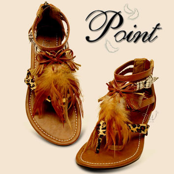 c0ba116845e Womens Summer Gladiator Roman Feather Suede Thong T-Strap Flats Sandals  Shoes