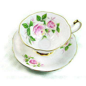 Teacup Saucer Queen Anne Bone China, England, 1950s, Original, Madame Butterfly, Rose, Gilded