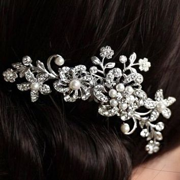 Bridal Bridesmaid Wedding Plum Flower Crystal Rhinestone Pearls Hair Clip Comb Headpiece (Size 11cm by 6.5cm; Color Silver)