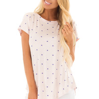 Blush Polka Dot Crew Neck Top with Short Sleeves