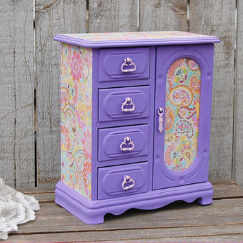 Jewelry Box, Jewelry Armoire, Shabby Chic, French, Lavender, Purple, Pink, Paisley, Decoupage, Upcycled, Hand Painted, Wood, Easter Gift