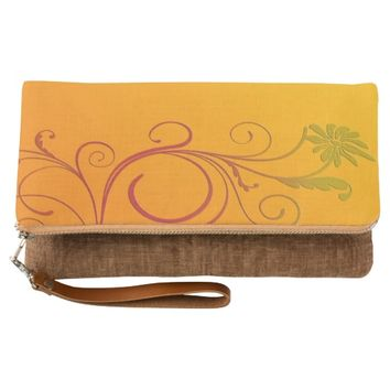 Orange Flower Clutch