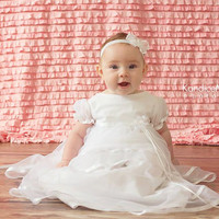 Ruffle Photography Backdrop in Light Pink With Rod Pocket for Hanging