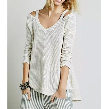 Moonshine Ribbed V Neck Long sleeves Loose Waffle Knit Flared Sweater [2974244341]