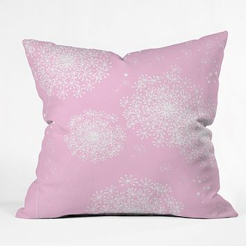 Monika Strigel Dandelion Snowflake Pink Throw Pillow
