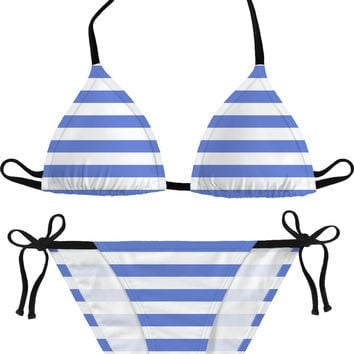 Retro bikini set, horizontal marine stripes pattern, white and light blue lines