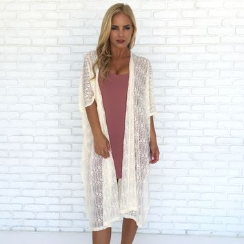 Light In The Dark Cream Lace Kimono