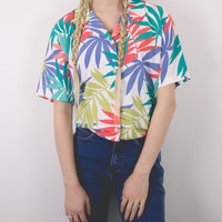 Vintage 90s Tropical Colorful Short Sleeve Blouse