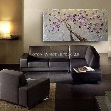 "Made to Order 72"" Paintings Taupe White Flower Gold Tan Purple Abstract Art Canvas oil Wall Decor Artwork Impasto Textured art by OTO"