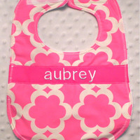 Personalized Bib - Baby Girl Bright Pink Flowers